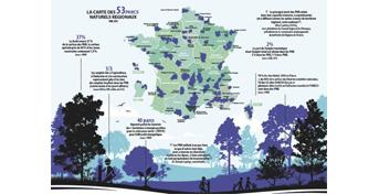 Carte commentée des 53 Parcs naturels régionaux